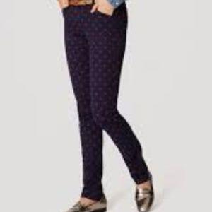 LOFT Black Polka Dot Velvet Modern Skinny Pants